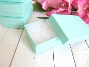 Teal Blue Cotton Filled Jewelry Boxes 3 1 8 X 2 1 8 X 1 Inch 32 Set Of 100
