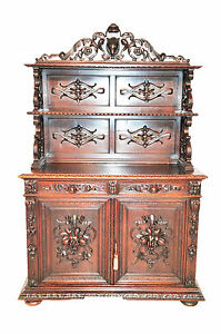 Attractive Antique French Hunt Cabinet Buffet Or Server Turn Of The Century