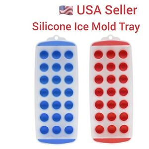 Round Silicon Ice Cube Balls Maker Tray 21 Slots Molds Bar Red Blue USA Seller