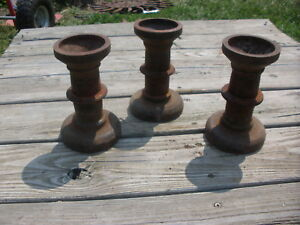 3 Cast Iron Spools For Candle Holder Door Stop Steampunk 6 5 Middle Decor