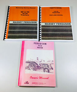 Set Massey Ferguson To 35 Gas Tractor Service Operator Parts Manual Catalog
