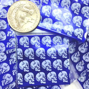 3 Mil 1515 1 5 X 1 5 100 Mini Zip Lock Design Bag Skull White On Pearl Blue