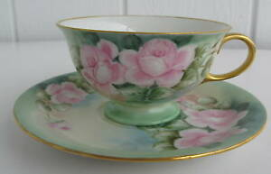 Eschenbach Hand Painted Cup Saucer Germany Pink Roses Flowers Signed