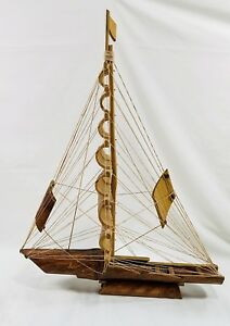 Vintage Bamboo Sailing Long Ship Sailboat Model Strings 21 1 2 Tall