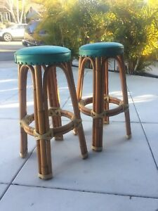 Rattan Bamboo Wicker Vintage Tiki Bar Stools 30 Tall