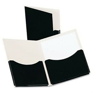 Double Stuff Gusseted 2 pocket Laminated Paper Folder 200 sheet Capacity Black