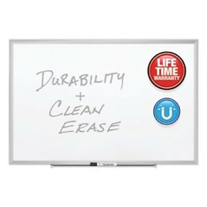 Classic Series Porcelain Magnetic Board 60 X 36 White Silver Aluminum Frame