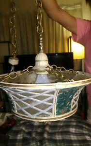 Antique Art Deco Cast Iron Swag Lamp With Glass Panels
