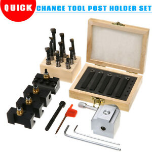 Mini Quick Change Tool Post Holder Set 3 8 Boring Bar 5x Indexable 3 8