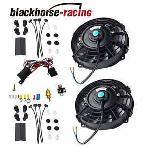 2x 7 Electric Radiator Cooling Fan thermostat Relay Install Kit Black