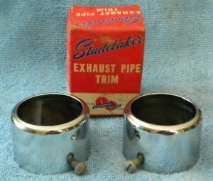 Rare Nos Studebaker Packard Exhaust Pipe Trim Chrome Tips Ac 2771 Vintage