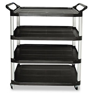 Rubbermaid Commercial Open Sided Utility Cart Four shelf 40 5 8w X 20d X 51h