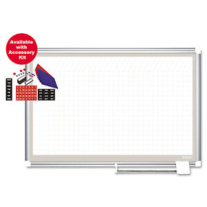 Mastervision Porcelain Dry Erase Planning Board W accessories 1x2 Grid 72x48
