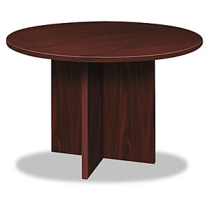 Basyx Bl Laminate Series Round Conference Table 48 Dia X 29 1 2h Mahogany