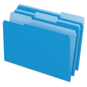 Pendaflex Colored File Folders 1 3 Cut Top Tab Legal Blue light Blue 100 box