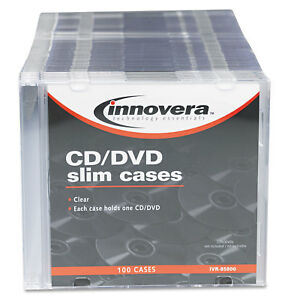 Innovera Cd dvd Polystyrene Thin Line Storage Case Clear 100 pack 85800