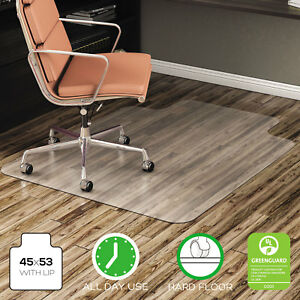 Deflecto Economat Anytime Use Chair Mat For Hard Floor 45 X 53 W lip Clear
