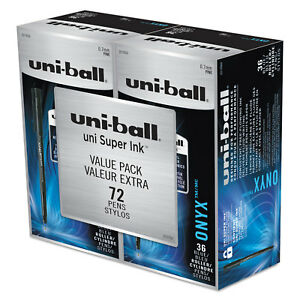 Uni ball Onyx Rollerball Pen 0 7 Mm Fine Blue Ink 72 pk 2013568