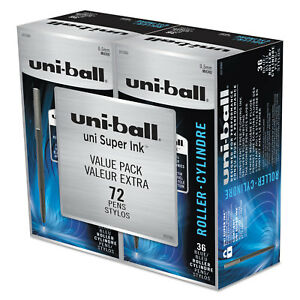 Uni ball Roller Pens Micro Point 0 5 Mm Micro Blue Ink 72 pk 2013566