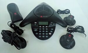 Polycom Soundstation 2 Conference Phone 2201 16200 001 With Wall Module 2 Mics