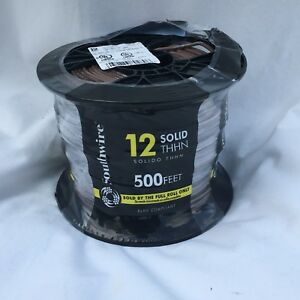 Southwire 500 ft 12 Awg Solid Brown Copper Thhn Wire 500 Foot Roll Sealed