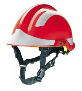 Msa F2 X trem Helmet Red C w Sticker Pack silver M1