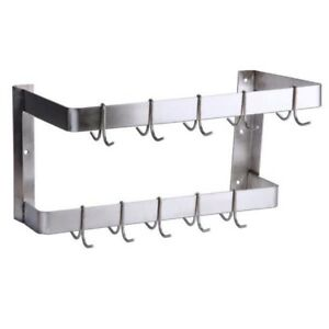 24 Nsf Wall Mounted Commercial Stainless Steel Double Line Pot Rack With Hooks