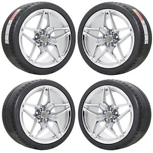 19x10 5 20x12 Corvette Zr1 Chrome Wheels Rims Tires Factory Oem 2019 Set 4 5927