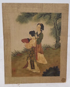 Antique Chinese Scroll Painting Ladies Landscape Signed Seals Silk