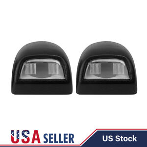 2x Black License Plate Light Lens Housing For Silverado Sierra Escalade Pickup