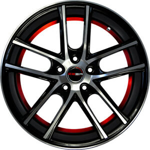 4 Gwg Wheels 17 Inch Black Red Zero Rims Fits Ford Mustang 2005 2014