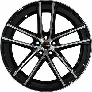 4 G38 Zero 18 Inch Black Machined Rims Fits Honda Civic Coupe 2012 2018
