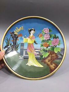 Chinese Antique Cloisonne Painted Palace Girl Plate