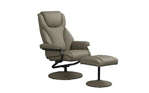 Office Swivel Chair In Faux Leather Reclining Executive Chair W Footstool Taupe