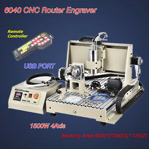 1500w 4axis 6040 Cnc Router Engraver Engraving Milling Usb Port Vfd Remote Usa