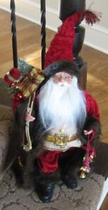 Santa Claus Red Coat Faux Velvet Primitive French Country Christmas Decor New