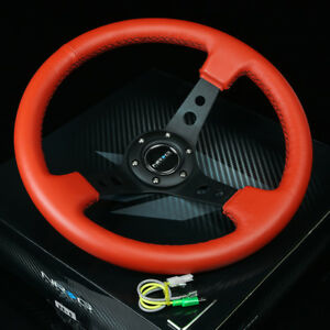 Nrg 350mm 3 deep Dish 6 holes Bolts Steering Wheel Red Leather Black 3 Spokes