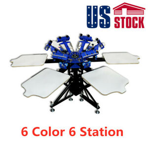 Us 6 Color 6 Station Manual Silk Screen Printing Machine T shirt Screen Printer