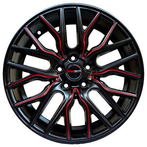 4 Wheels 18 Inch Matte Black Red Flare Rims Fits Hyundai Veloster 2012 2018
