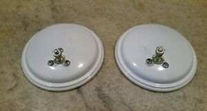 2 Vintage Pm Peterson Round White Convex Wide Angle Mirrors Classic Truck Van