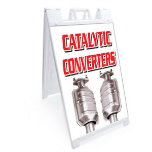 A frame Catalytic Converters Sign Double Sided Graphics 24 X 36