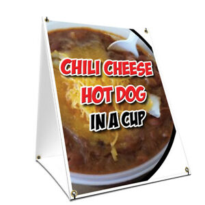 A frame Sidewalk Chili Cheese Hot Dog In A Cup Sign Double Sided Graphics 18 X