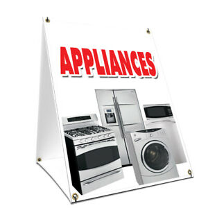 A frame Sidewalk Appliances Sign With Graphics On Each Side 18 X 24