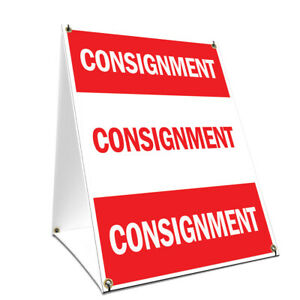 A frame Sidewalk Consignment Sign With Graphics On Each Side 18 X 24