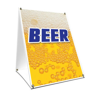 A frame Sidewalk Beer Sign With Graphics On Each Side 18 X 24 Print Size