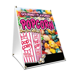 A frame Sidewalk Gourmet Flavored Popcorn Sign With Double Sided Graphics 18 X