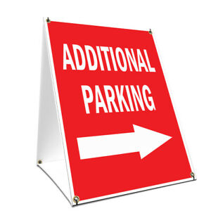 A frame Sidewalk Additional Parking With Arrow Sign Double Sided 18 X 24