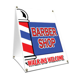 A frame Sidewalk Barber Shop Walk ins Welcome Sign Double Sided 18 X 24