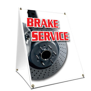 A frame Sidewalk Brake Service Sign With Graphics On Each Side 18 X 24