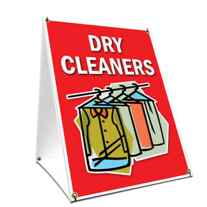 A frame Sidewalk Dry Cleaners Sign With Graphics On Each Side 24 X 36